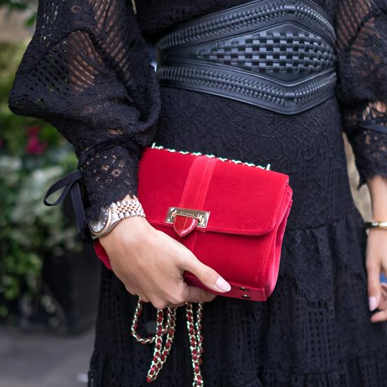 Small Lottie Bag In Scarlet Velvet by Aspinal of London at ORCHARD... 27417671e3