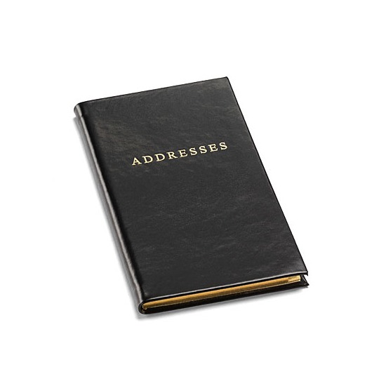 classic slim pocket address book in smooth black by aspinal of