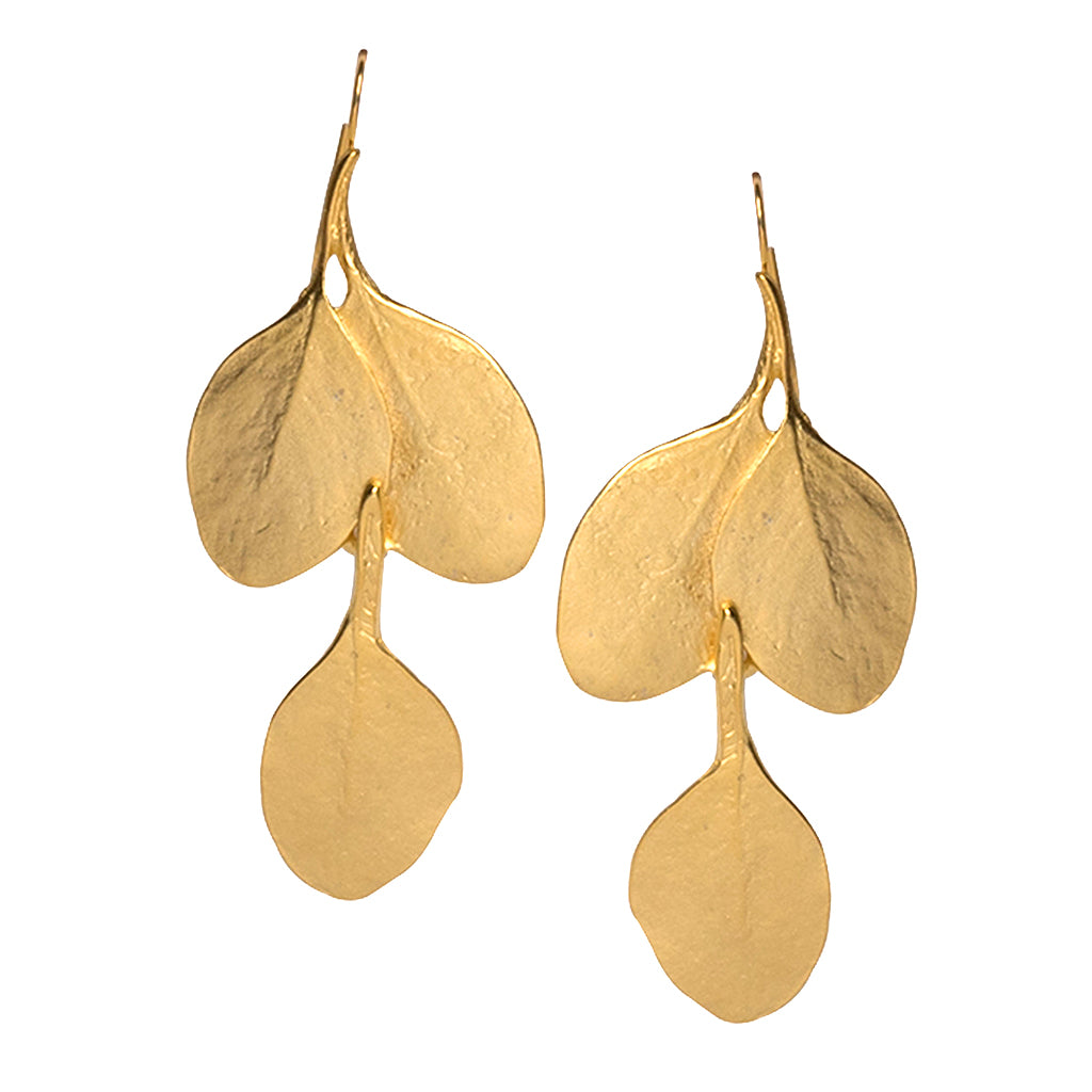 Satin Gold Long Leaf Earrings by Orchard Mile