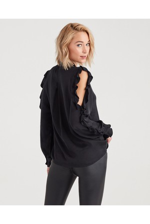3fac21423867d 7 For All Mankind Cold Shoulder Ruffle Top In Jet Black