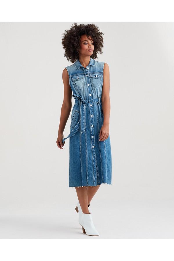 bb56d21d1415c3 Midi Trucker Vest Dress In Desert Oasis by 7 For All Mankind at...