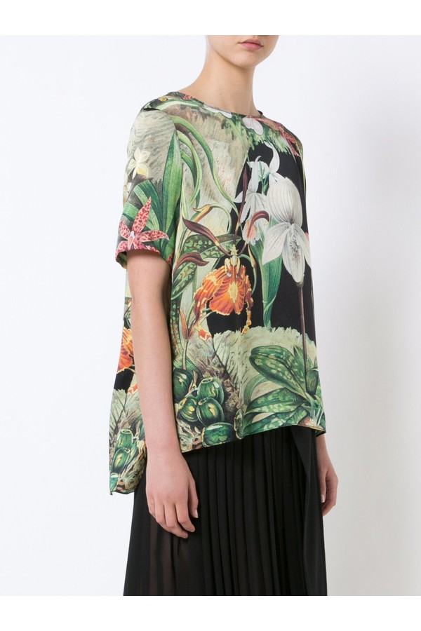 1193ca54f Orchid Printed Silk T-Shirt by Adam Lippes at ORCHARD MILE