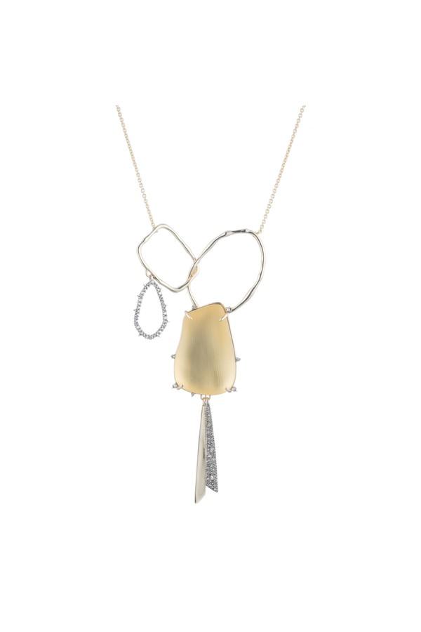 Alexis Bittar Crystal Encrusted Organic Link Tassel Bib Necklace New labradorite pQEyDFjuAo