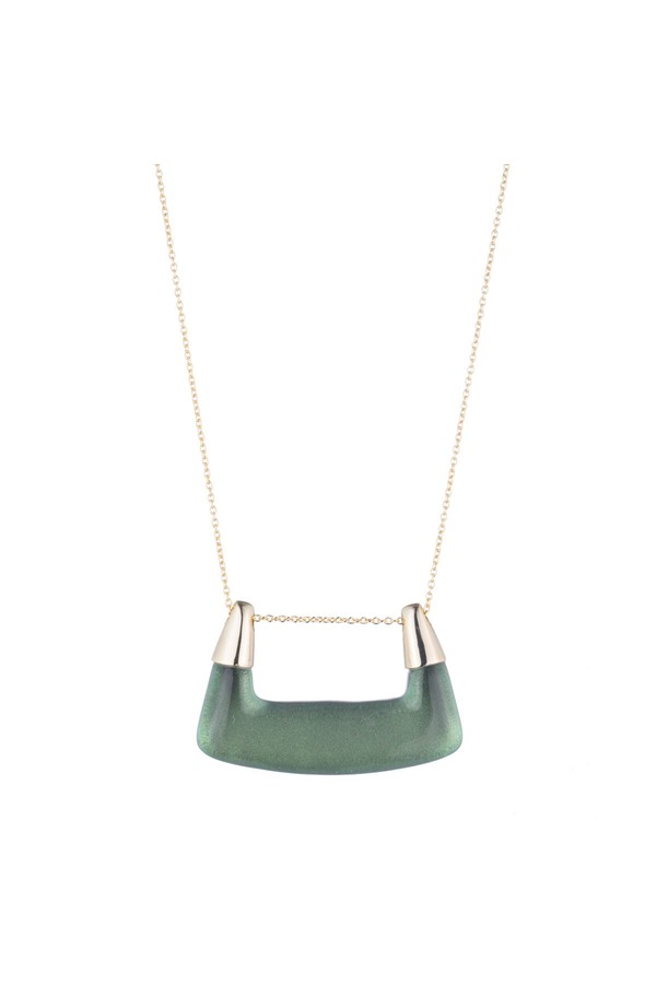 Alexis Bittar Buckle Shape Lucite Pendant Necklace Deep jade