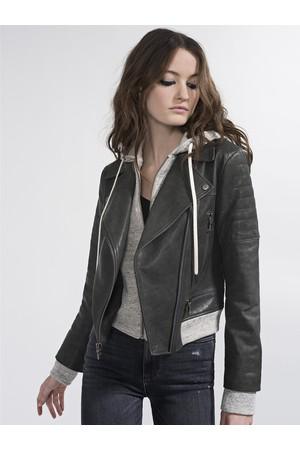 eae5560ab08 Alice + Olivia Avril Sweatshirt Leather Jacket