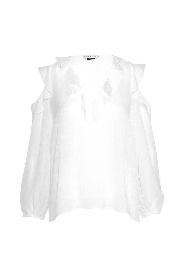 ea945ee7280 White Gia Ruffle Cold Shoulder Blouse by Alice + Olivia at ORCHARD...