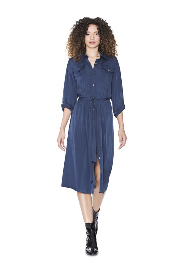 2e3e054d29bc Claudia Open Neck Shirt Dress by Alice + Olivia at ORCHARD MILE