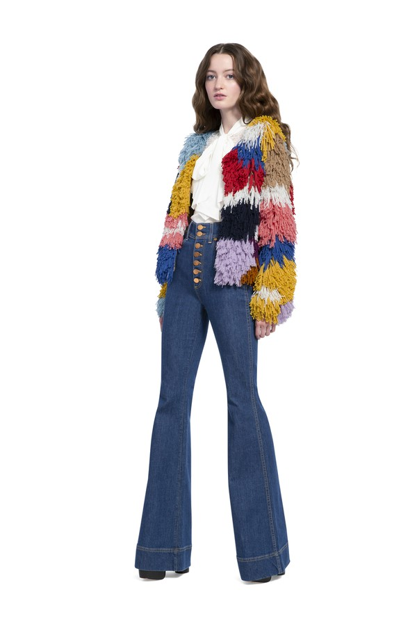 6d59c7e2bb45 Fawn Multi-Color Fringe Jacket by Alice + Olivia at ORCHARD MILE