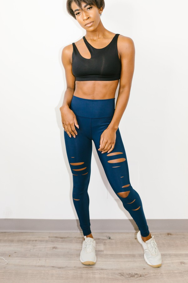 c4ae9a9503 High Waist Ripped Warrior Legging Navy by Alo Yoga at ORCHARD MILE