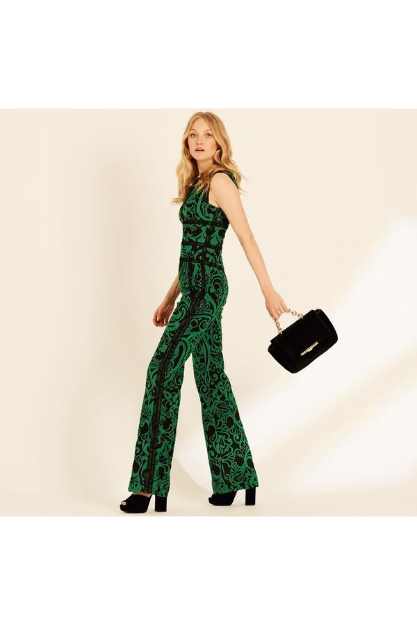Emerald Paisley Jacquard Jumpsuit