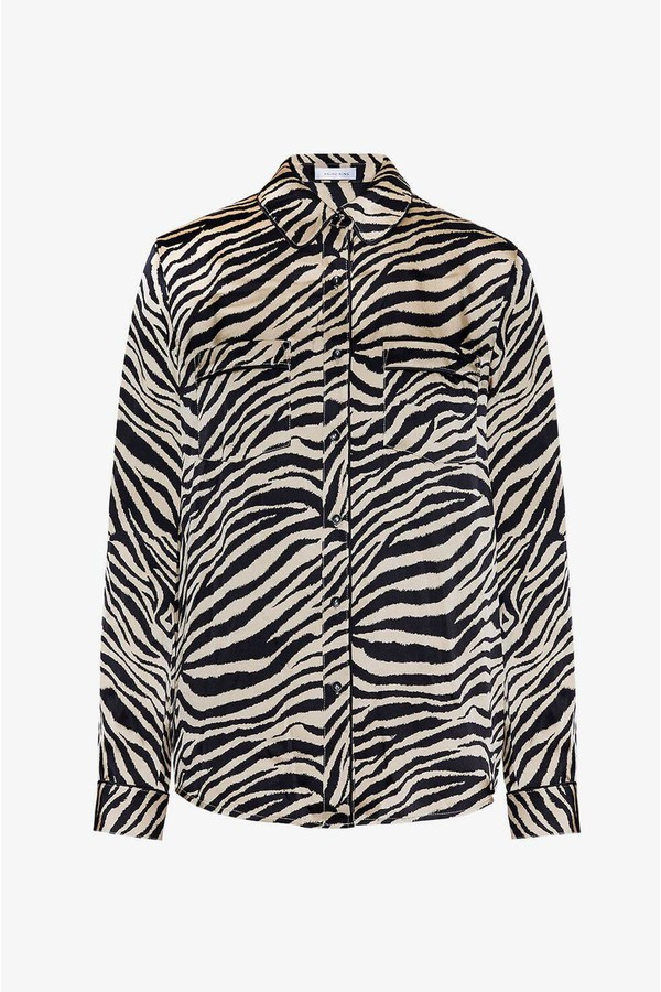 0fb874c005073 Vivienne Silk Pajama Shirt - Zebra by Anine Bing at ORCHARD MILE