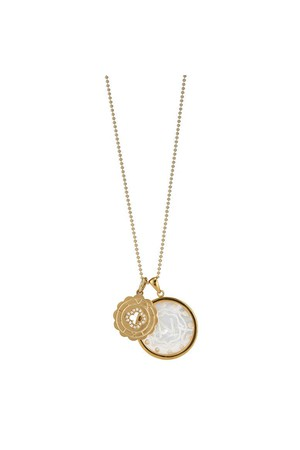 Asha by Ashley McCormick Harbour Island Coordinates Pendant White / 18k yellow gold svqAzM8PZB