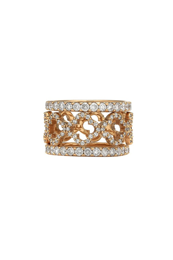 Asha by Ashley McCormick Diamond Clover Stack Silver bI6lFn