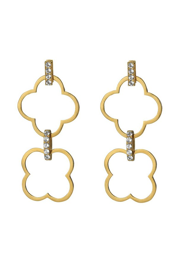Asha by Ashley McCormick Diamond Double Clover L Gold B3Y9cZd