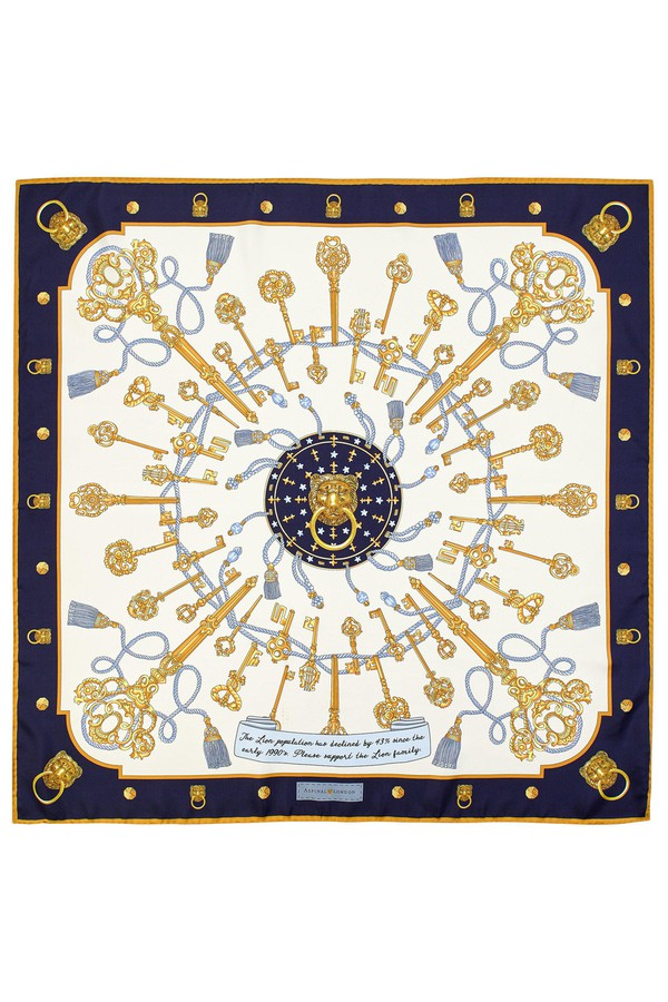 e8a981f8c Lion & Key Silk Scarf by Aspinal of London at ORCHARD MILE