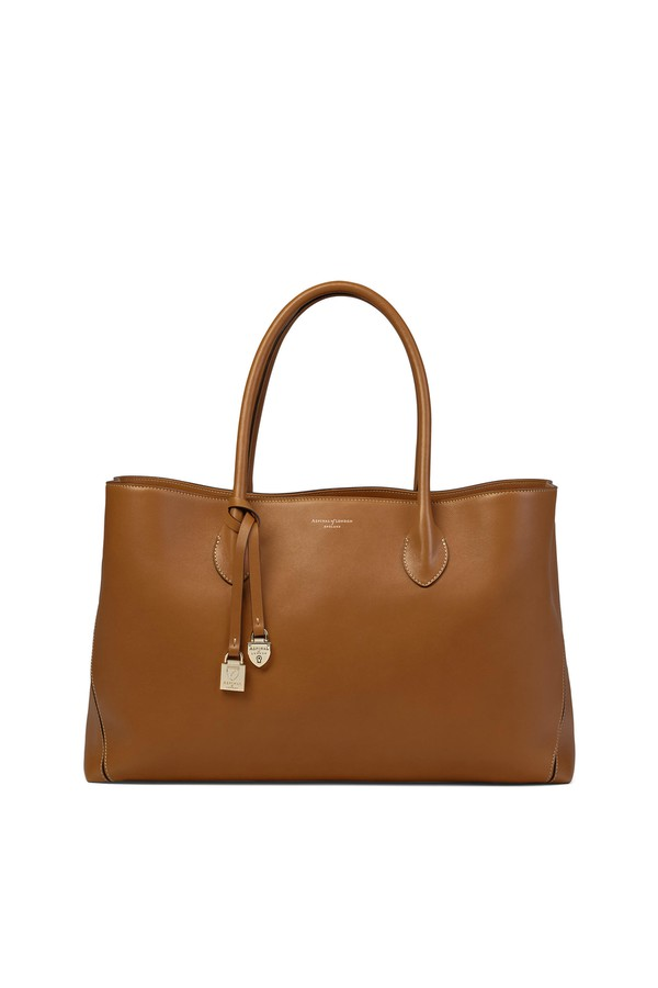 Oversized London Tote In Smooth Tan by Aspinal of London