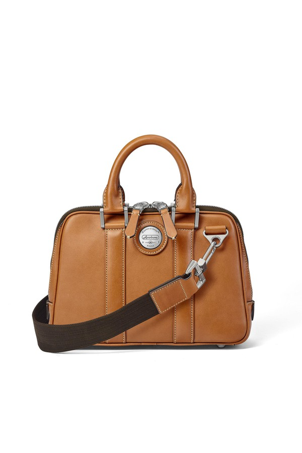 Aerodrome Mini Mission Bag In Smooth Tan by Aspinal of London
