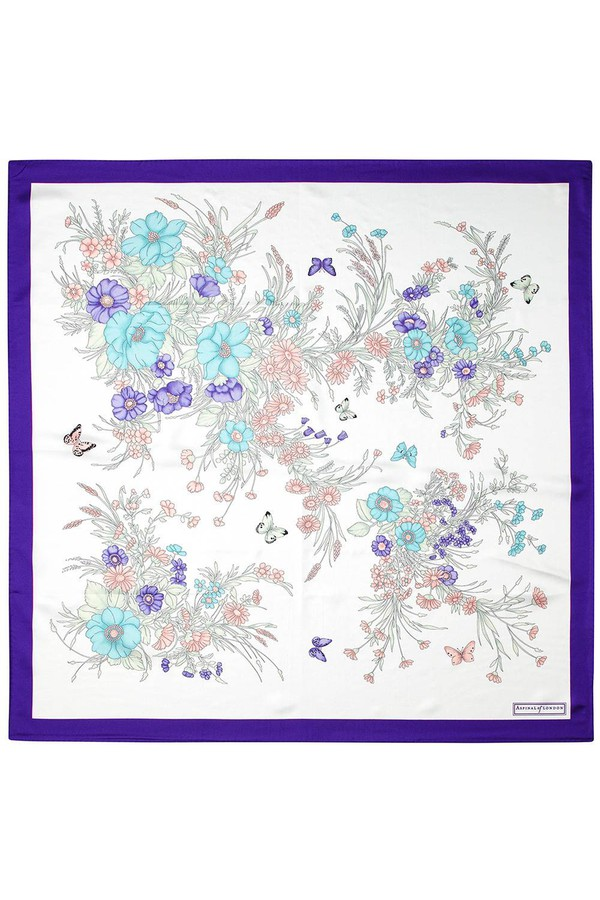 d8e2be91c Bouquet Of Flowers Silk Scarf In Purple by Aspinal of London at...