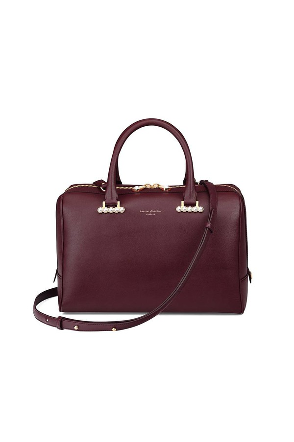 Large Pearl Bowling Bag In Smooth Burgundy by Aspinal of London at...