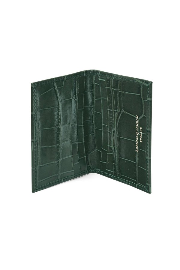 Double Fold Credit Card Case In Deep Shine Forest Green Croc by... e441eda8f61b