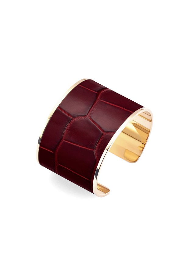 Cleopatra Cuff Bracelet In Deep Shine Bordeaux Croc by Aspinal of ...
