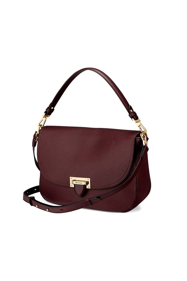 b9853b704c Slouchy Saddle Bag In Bordeaux Pebble by Aspinal of London at...