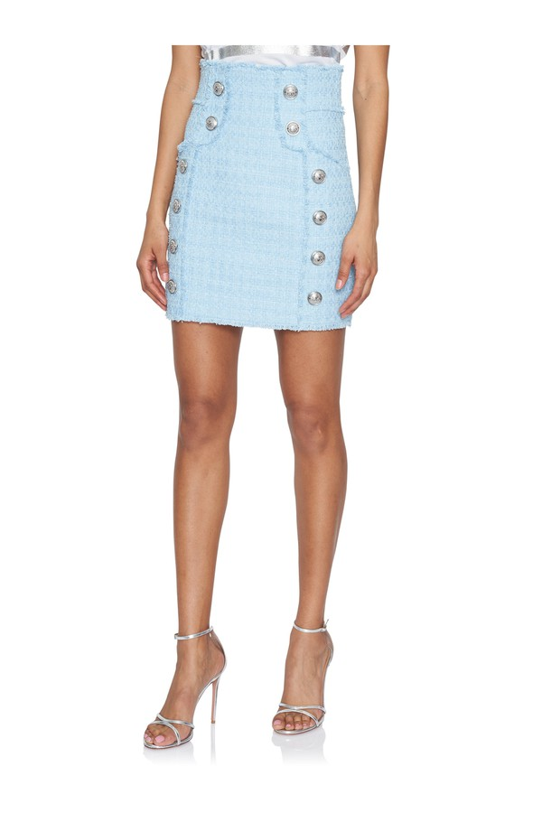 8bb0eed8 Button-Embellished High-Waist Tweed Skirt by Balmain at ORCHARD MILE
