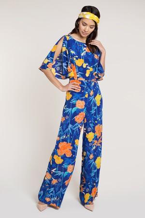 d0709d7e39 Beulah London Cressida Navy Oriental Silk Jumpsuit