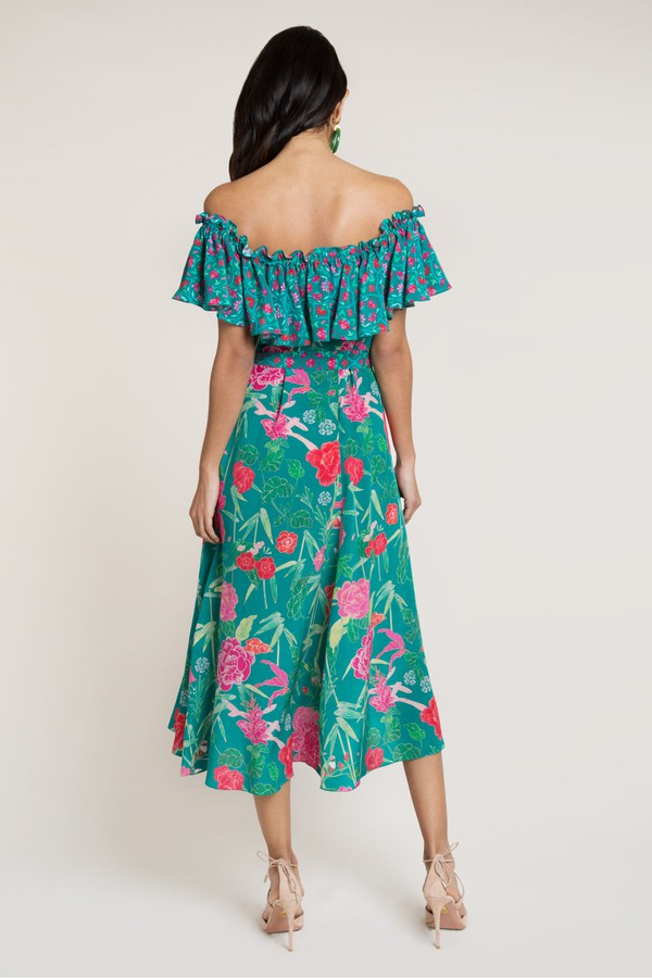 d8df09c94e1f0 Aasha Green Off The Shoulder Dress by Beulah London at ORCHARD MILE