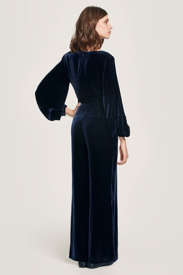 3a78bb8dee40 Aaloka Navy Velvet Jumpsuit by Beulah London at ORCHARD MILE