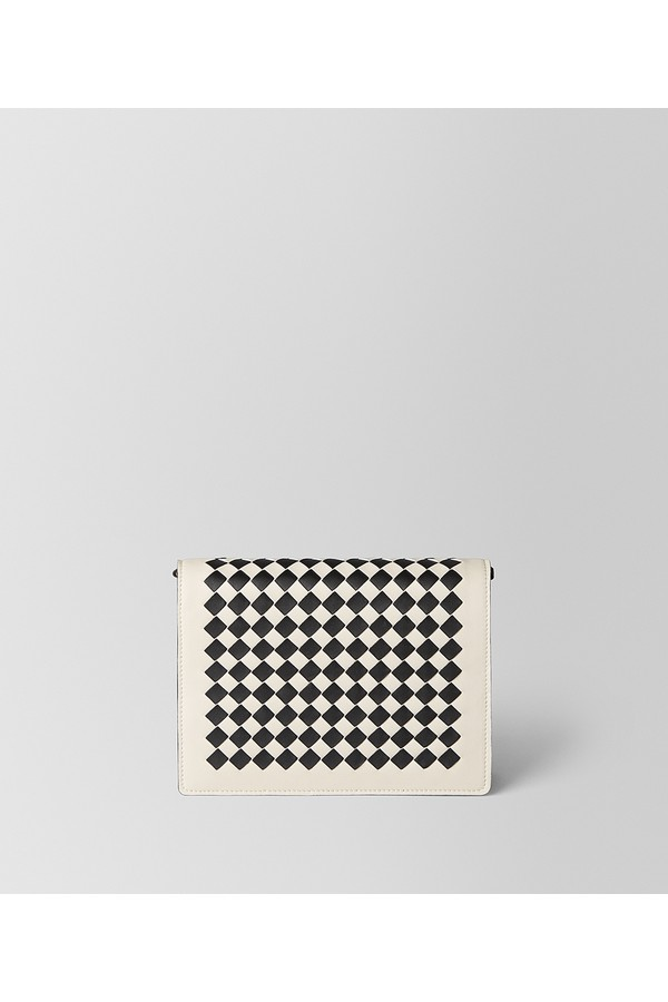 30601800b274 image of China Red Dahlia Intrecciato Checker Chain Wallet. Bottega Veneta