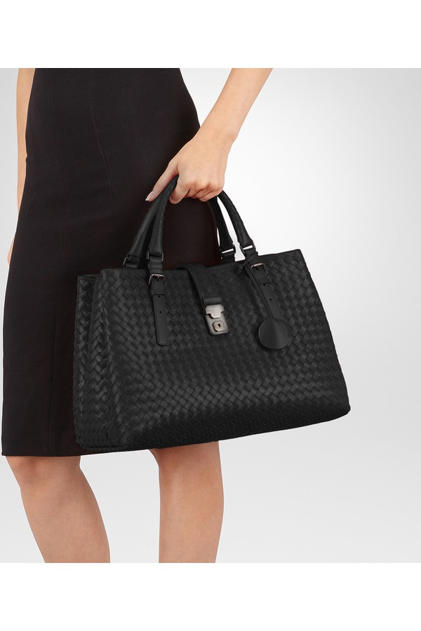 Nero Intrecciato Calf Medium Roma Bag by Bottega Veneta at ORCHARD... 2792ce36d056c