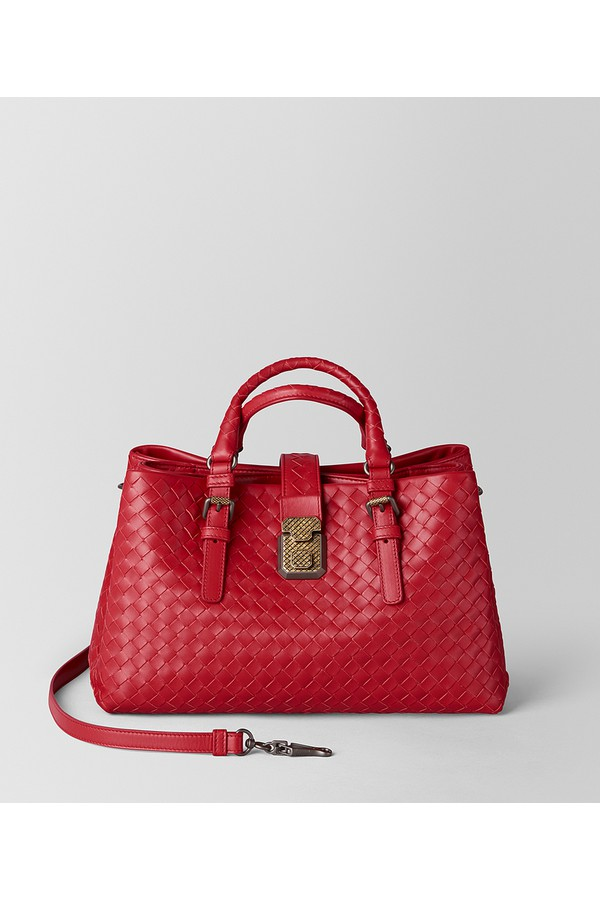 a525806136 China Red Intrecciato Calf Roma Bag by Bottega Veneta at ORCHARD MILE