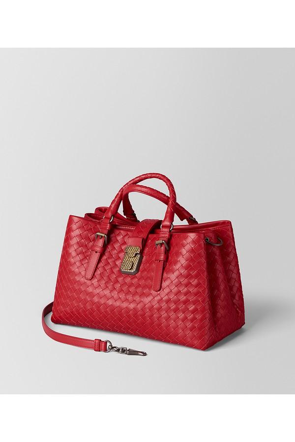 fa357f53ba53 China Red Intrecciato Calf Roma Bag by Bottega Veneta at ORCHARD MILE