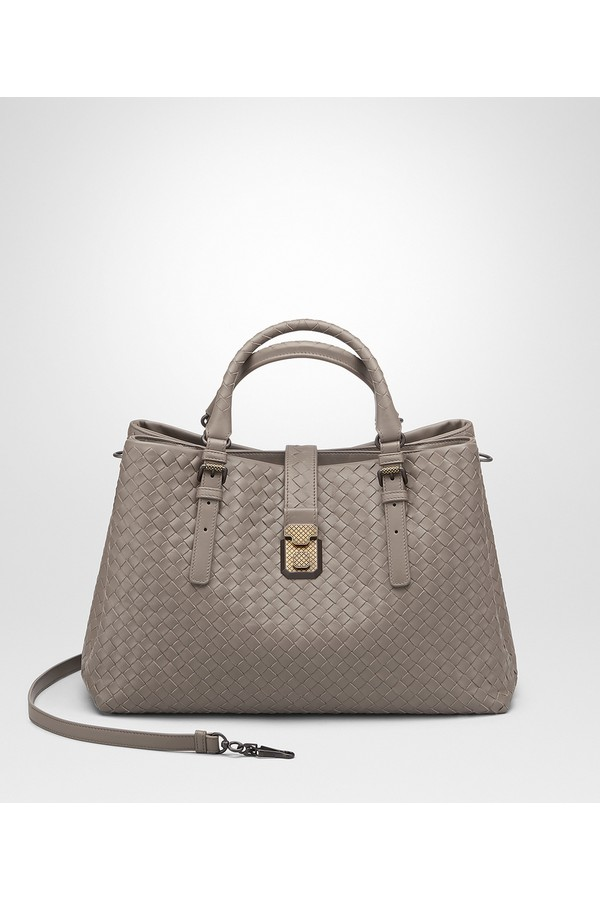Steel Intrecciato Calf Medium Roma Bag by Bottega Veneta at... 326120e4f3247