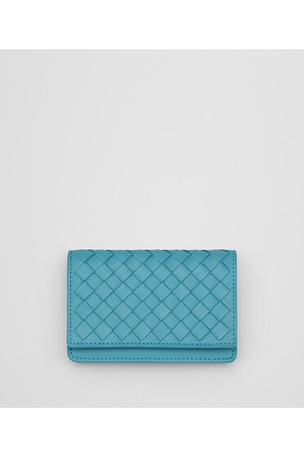 aqua Intrecciato nappa card case - Blue Bottega Veneta OIPVpa