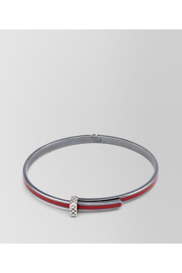 Bottega Veneta China Red Leather/Oxidized Silver Bracelet M China red nero K6WkM