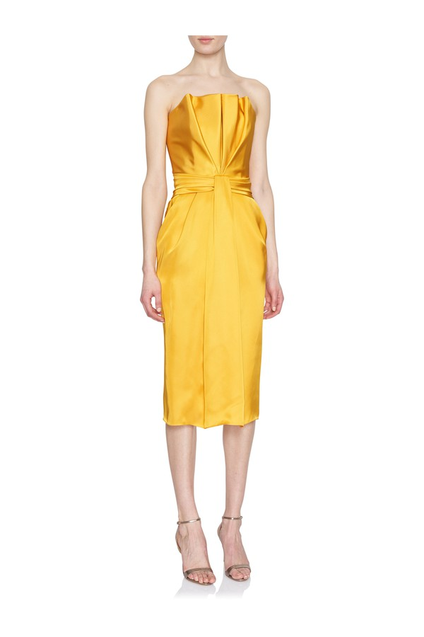 d3b7d7e305e Liquid Satin Pleated-Front Strapless Dress by Brandon Maxwell at...