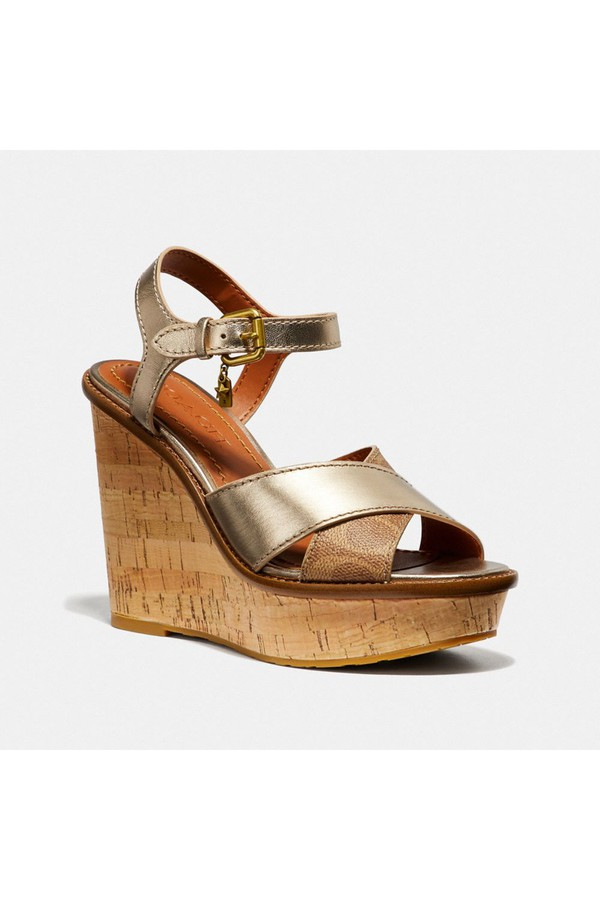 04033b0c9d456 Cross Band High Wedge Sandal by Coach at ORCHARD MILE