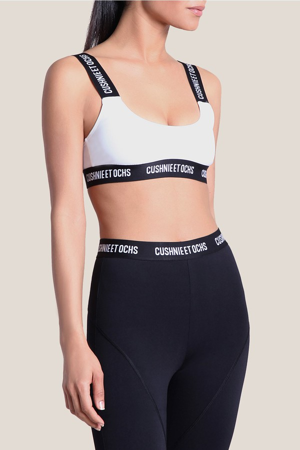 f74acbf6249c White Cecile Logo Sport Bra by Cushnie at ORCHARD MILE