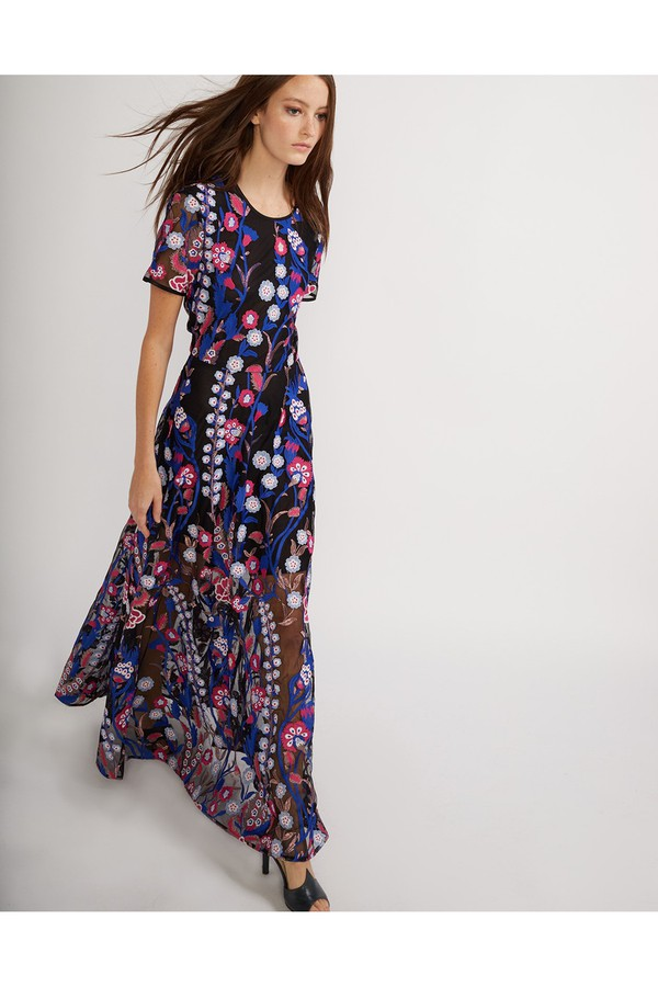 f4d86d5c0e5 Blue Embroidered Mesh Maxi Dress by Cynthia Rowley at ORCHARD MILE