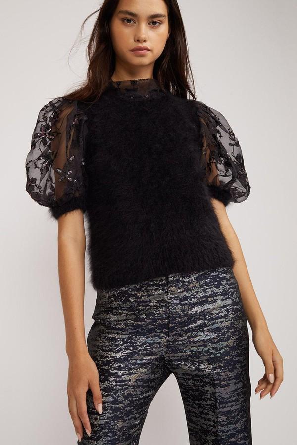 03d6453ffab399 Angora Sheer Puff Sleeve Top by Cynthia Rowley at ORCHARD MILE