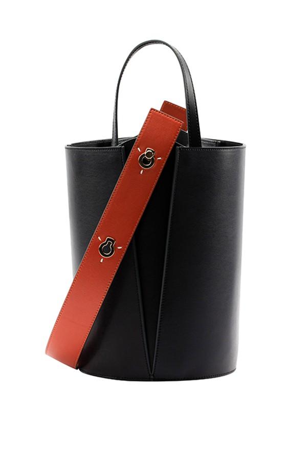 Mini Lorna Bucket Bag In Black Orange Leather by Danse Lente at... 6fd0737d45763