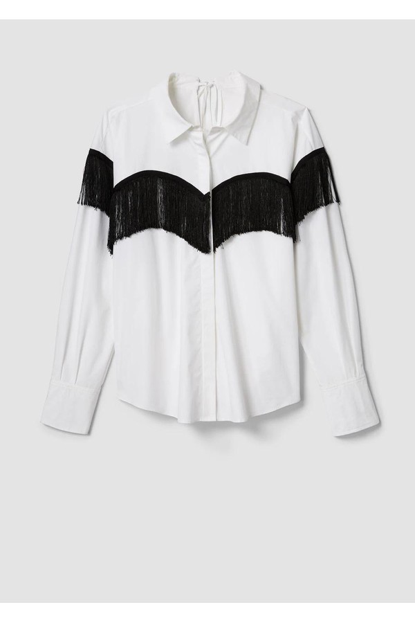 2ab215515 Long Sleeve Button-Down Shirt With Fringe by Derek Lam 10 Crosby...