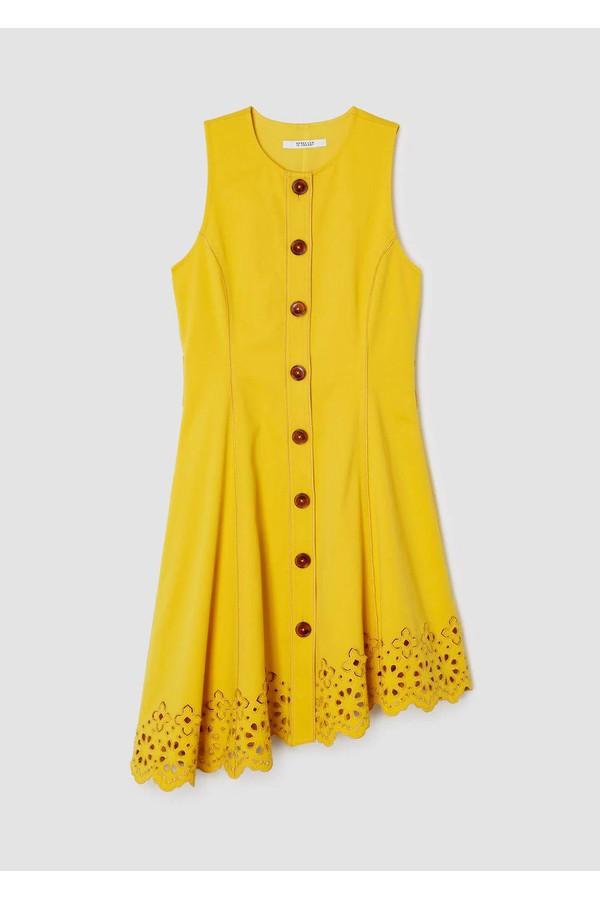 3fd2a8232de75c Sleeveless Button Down Dress With Scalloped Hem by Derek Lam 10...