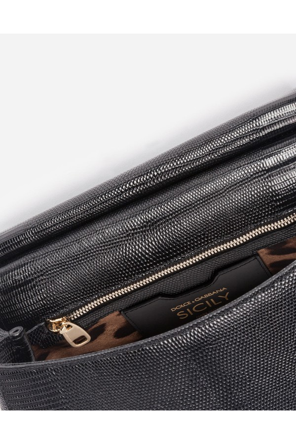 e0a4c80040 Medium Calfskin Sicily Bag With Iguana Print And Dg Crystal Logo...