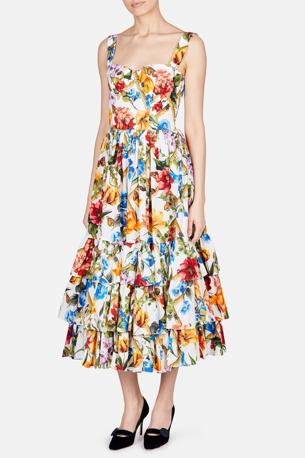 ba9eb951e450ad Dolce   Gabbana Fitted Bodice With Tiered Skirt Floral Dress