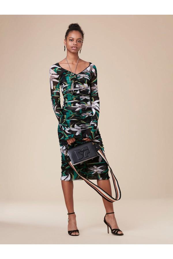 Diane Von Furstenberg Camille Long Sleeve Mesh Overlay Midi Dress
