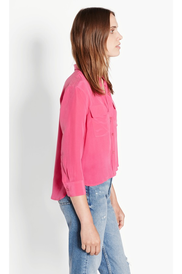 bbb9c387e6fc75 Cropped 3 4 Sleeve Signature Silk Shirt by Equipment at ORCHARD MILE