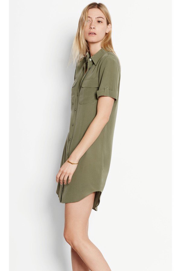 1cc6430903baef Short Sleeve Slim Signature Silk Dress by Equipment at ORCHARD MILE